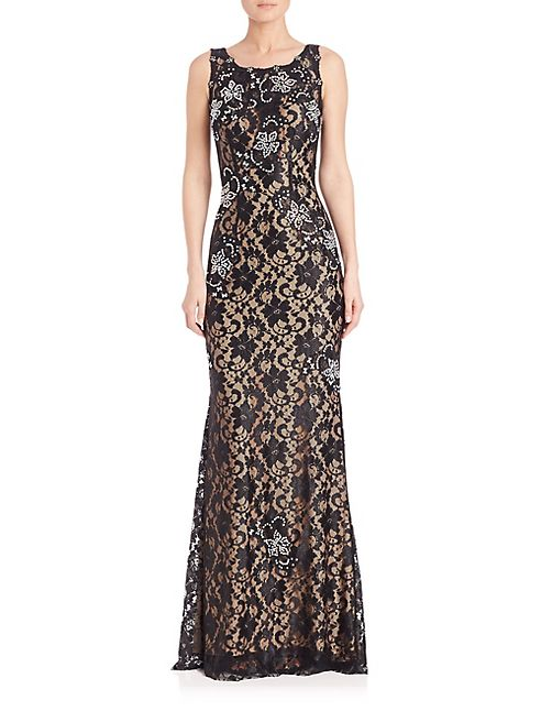 Jovani - Sequined Lace Gown