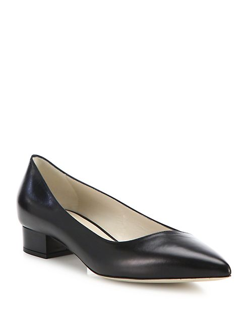 Giorgio Armani - Asymmetrical Leather Block Heel Ballet Flats