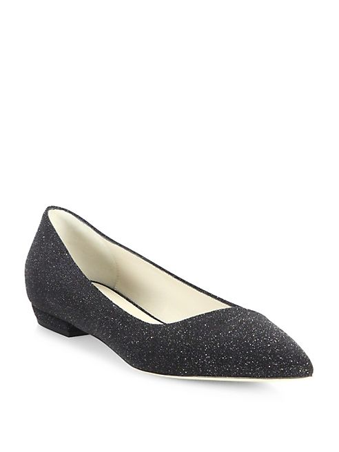 Giorgio Armani - Shimmer Suede Asymmetrical Point Toe Flats