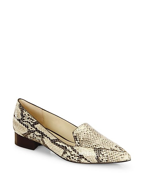 Cole Haan - Dellora Snake-Embossed Leather Skimmer Flats