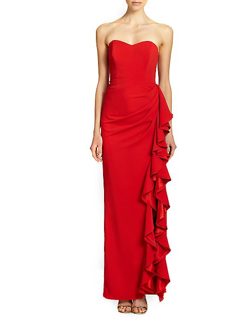 Badgley Mischka - Strapless Ruffle Gown